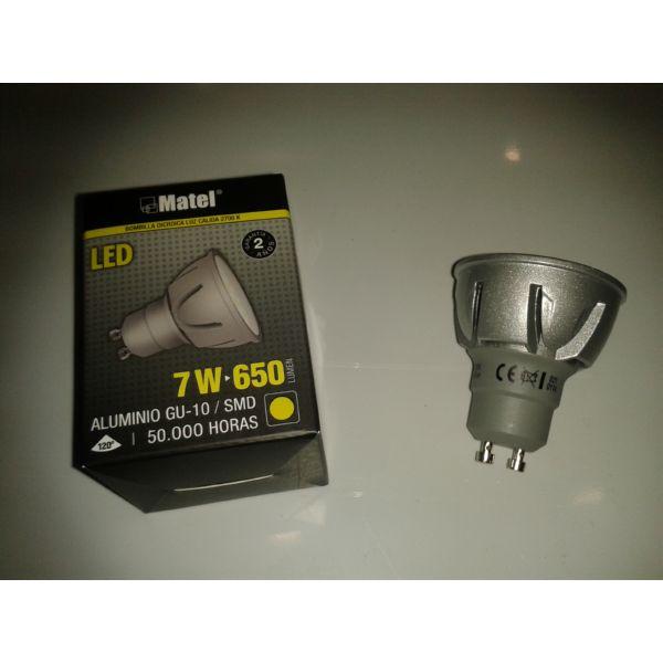 BOMBILLA LEDS MATEL GU10 7W 2700K 650LM LUZ CALIDA